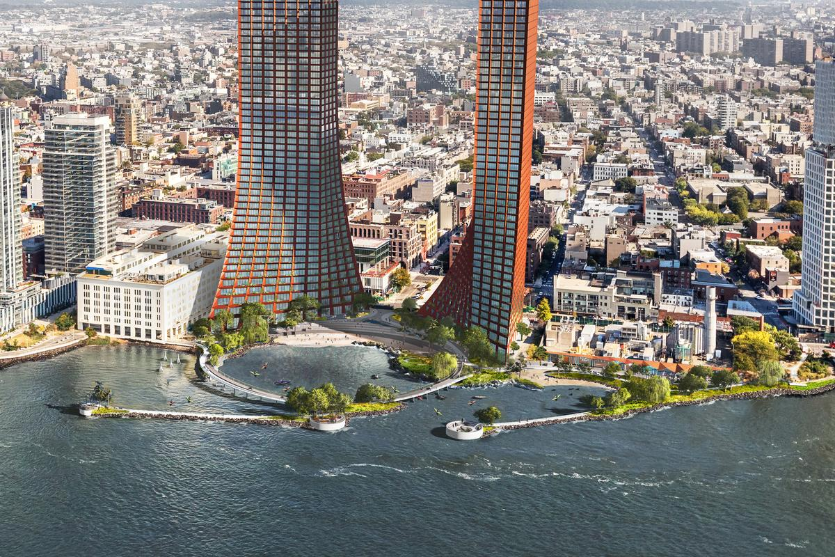 Assuming it goes ahead, the River Street Waterfront Masterplan will be located in the Williamsburg neighborhood of Brooklyn and include a pair of mixed-use towers and a large circular walkway that encloses a protected cove