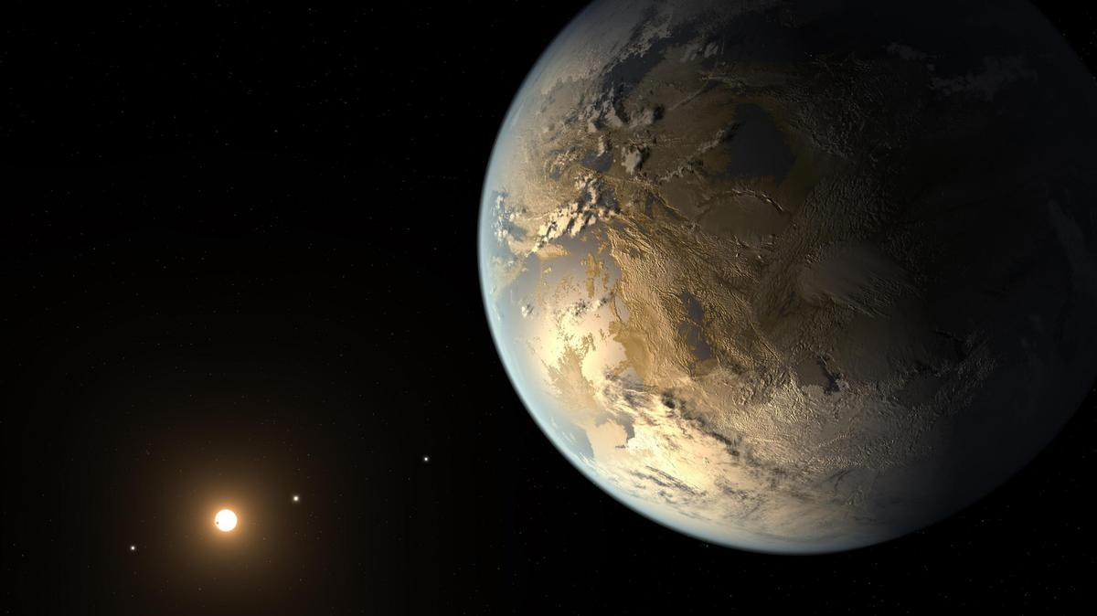 An artist's rendition of Kepler-186f, an Earth-like exoplanet that astronomers now believe has a stable axial tilt, giving it regular seasons and a comfortable climate