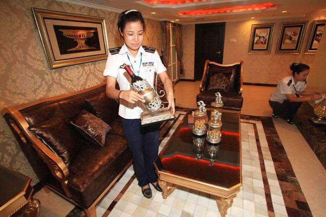 Onboard the Tianjin Aircraft Carrier Hotel in China