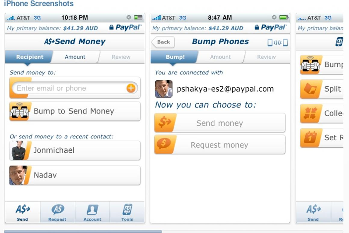 Some iPhone screen grabs which show how PayPal Send Money 2.0 app keeps you solvent