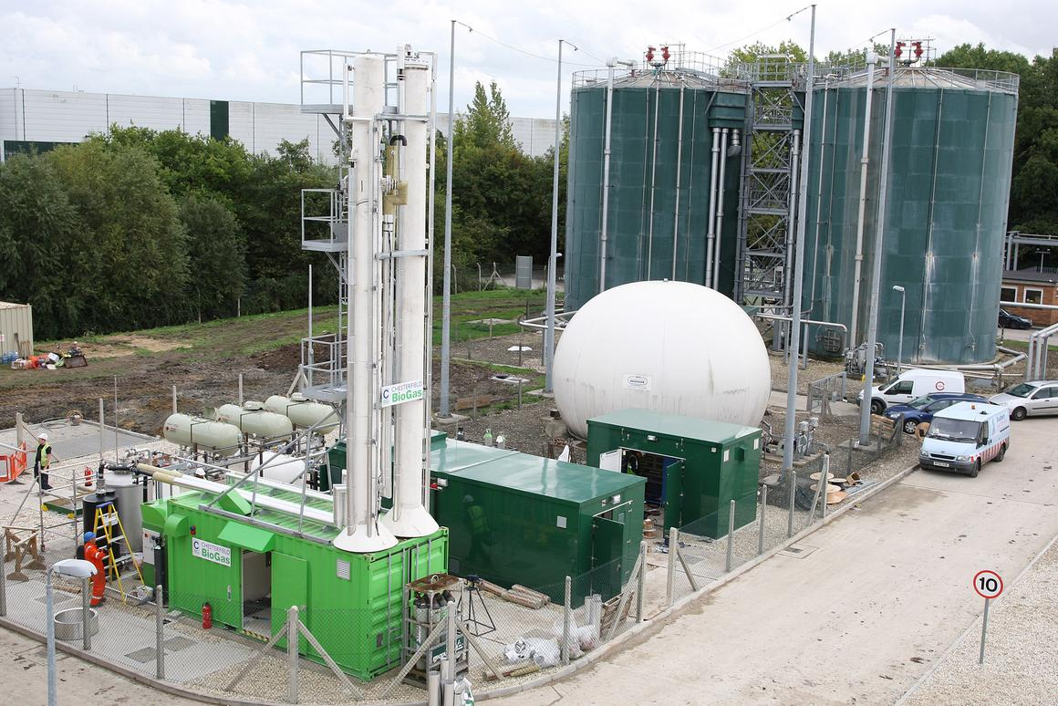The new biogas plant, sited next to the Didcot sewage works in Oxfordshire, has been officially opened by Energy and Climate Change Secretary Chris Huhne