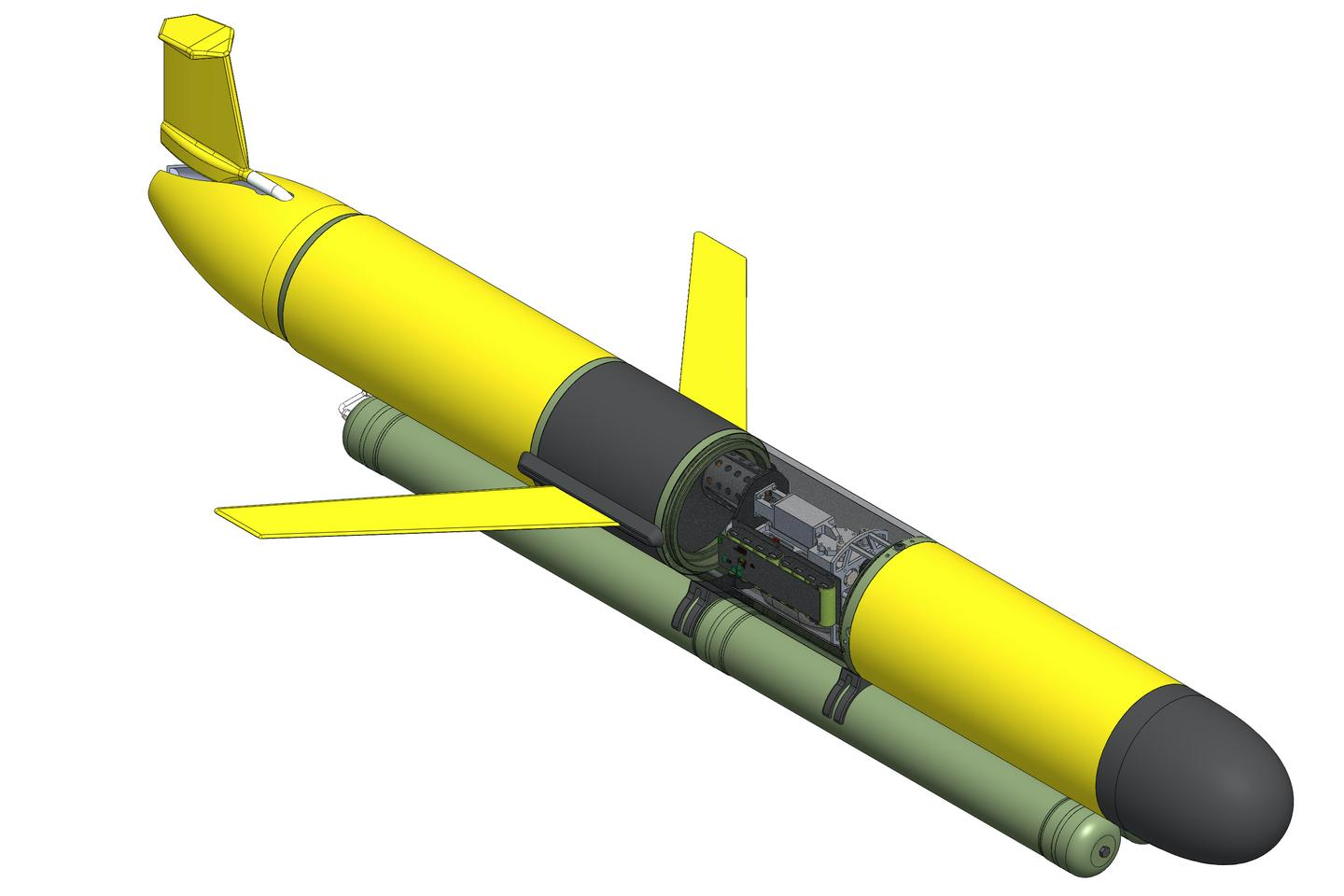 An illustration depicting the Seatrec system (green) retrofitted onto a third-party underwater glider