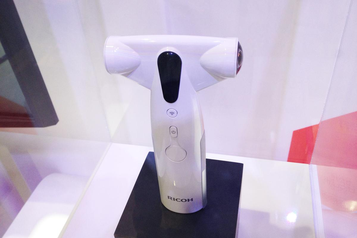 Ricoh's prototype 360-degree one shot panoramic camera on display at CES 2013