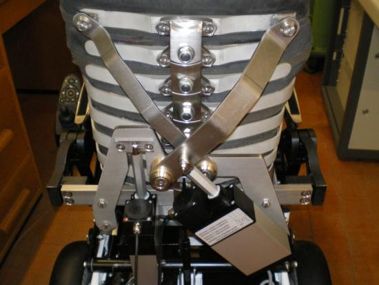 A back view of the ribs and joints incorporated into the seat's backrest