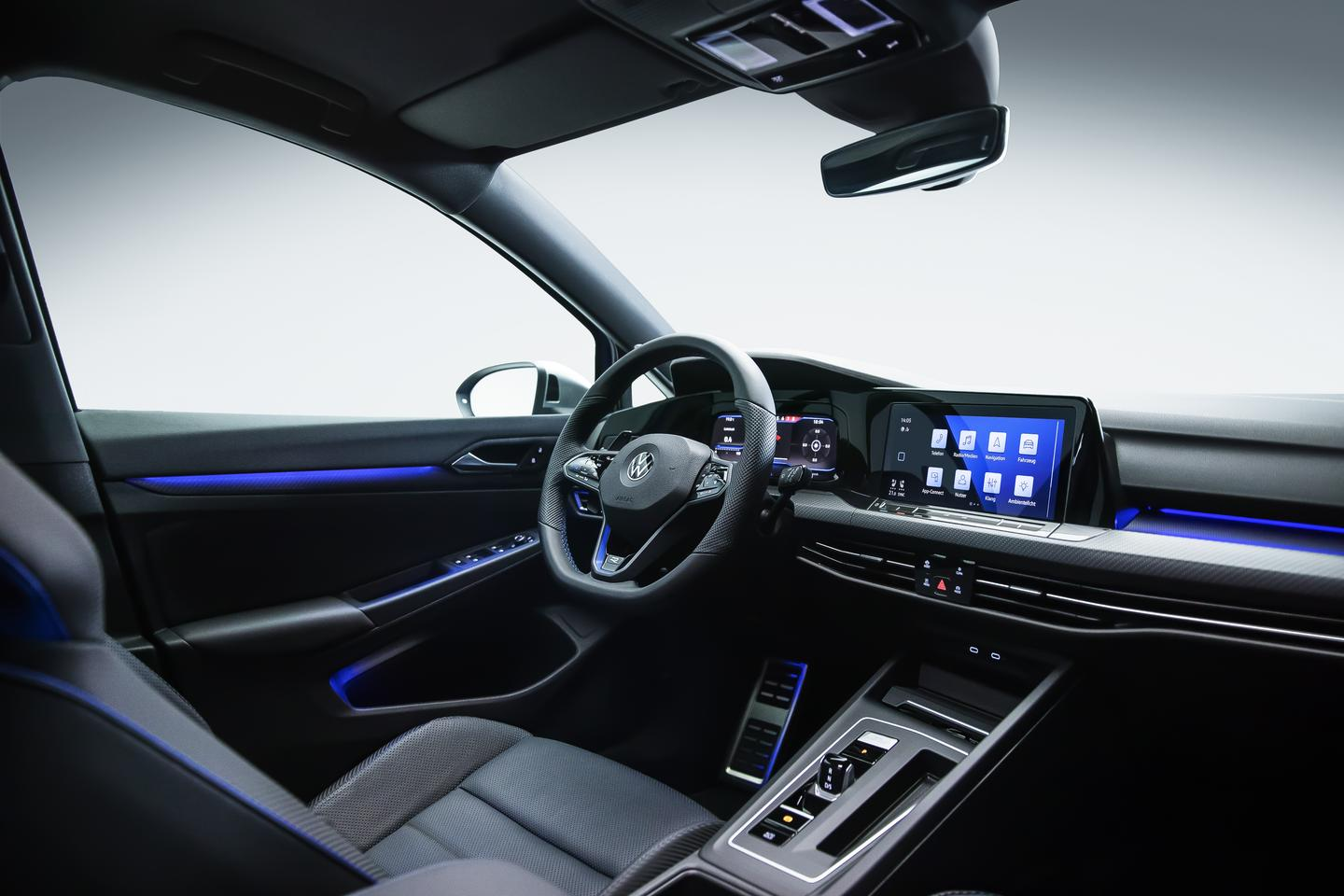 Inside the cabin of the Golf R 2022, is a 10-inch touchscreen display and digital instrument cluster
