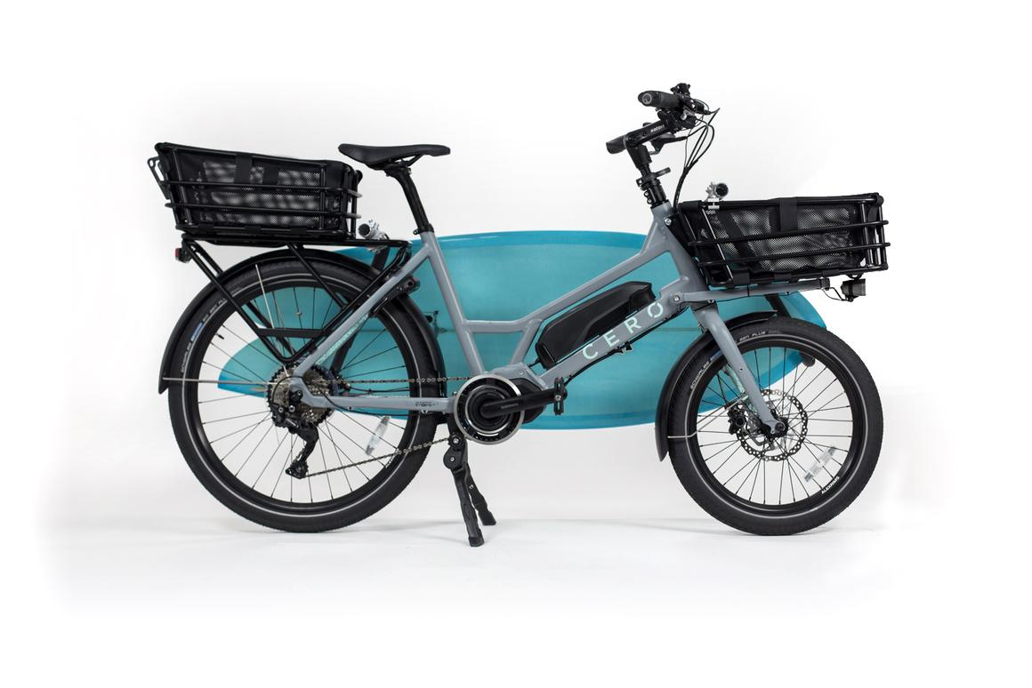 The CERO One's front and rear racks can hold baskets, flat platform carriers and more