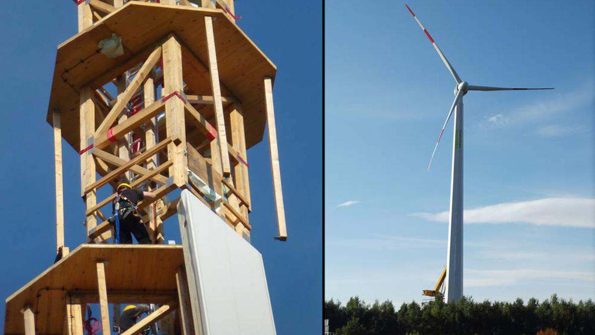 The prototype TimberTower constructed in Hannover, Germany