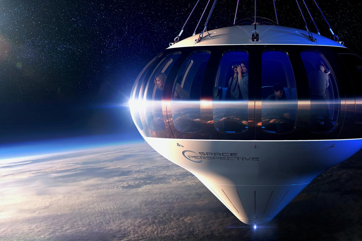 The Spaceship Neptune capsule, pictured here cruising 100,000 feet (30,480 m) above Earth