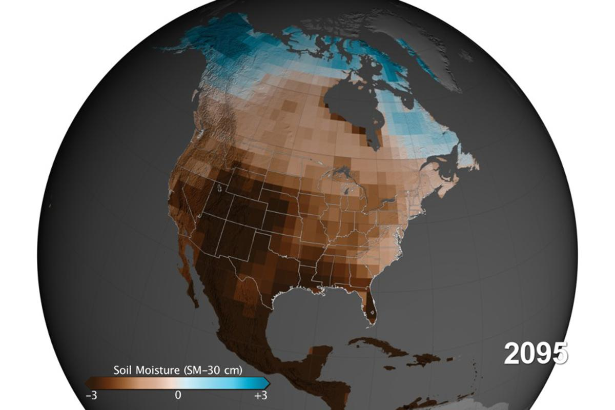30-cm (11.8-in)-deep moisture projection based on NASA's high carbon emission scenario in the year 2095 (Image: NASA's Goddard Space Flight Center)