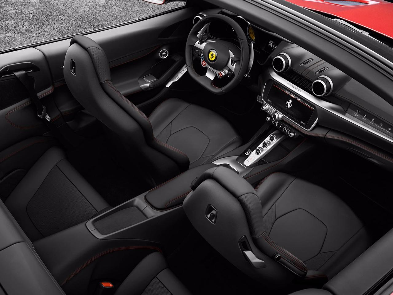 2018 Ferrari Portofino: interior features separate center and passenger touch screens