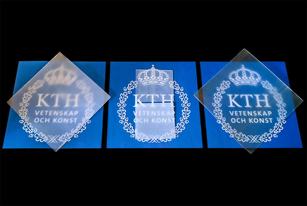 A more translucent version of                         the transparent wood developed by researchers at                         KTH Royal Institute of Technology can be seen on                         the right, compared to previous versions