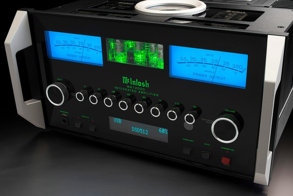 As well as the iconic McIntosh watt meters, the front panel is home to an 8-band equalizer, two sturdy carry handles, and a window into the glowing heart of the pre-amp section – and there's a ceramic halo up top too