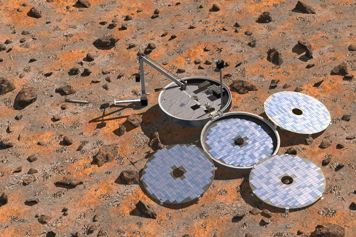 Artist's impression of the Beagle-2 spacecraft fully deployed on the surface of Mars (Image: ESA, Denman Productions)