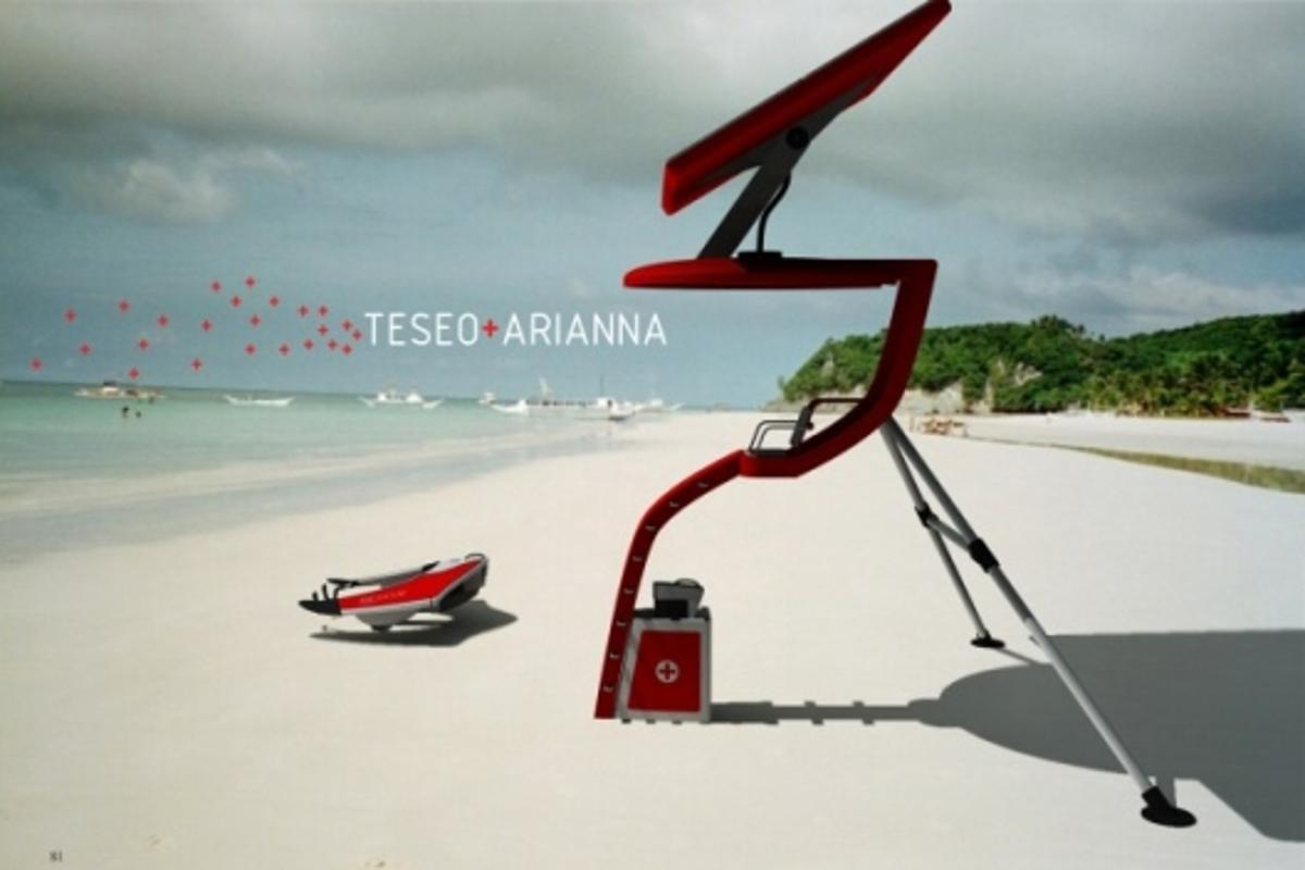 Jet-engine powered water vehicle (Teseo) and solar powered tower (Arianna)