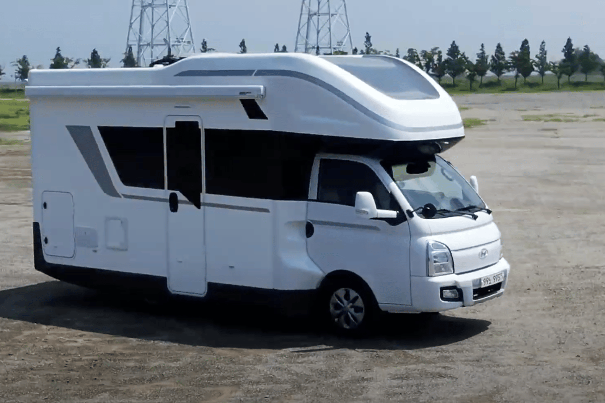 A bit more rounded around the edges than other motorhomes, the Hyundai Porest has a clean look