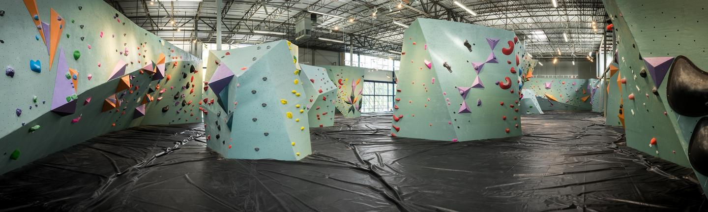 Climbing sections at the Austin Bouldering Project are rotated twice a week to create new runs