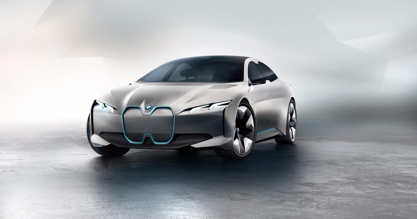"Of note on the new BMW i Vision Dynamics concept is the revised front grille, with a larger, more squared ""BMW double kidney"" as its definition"