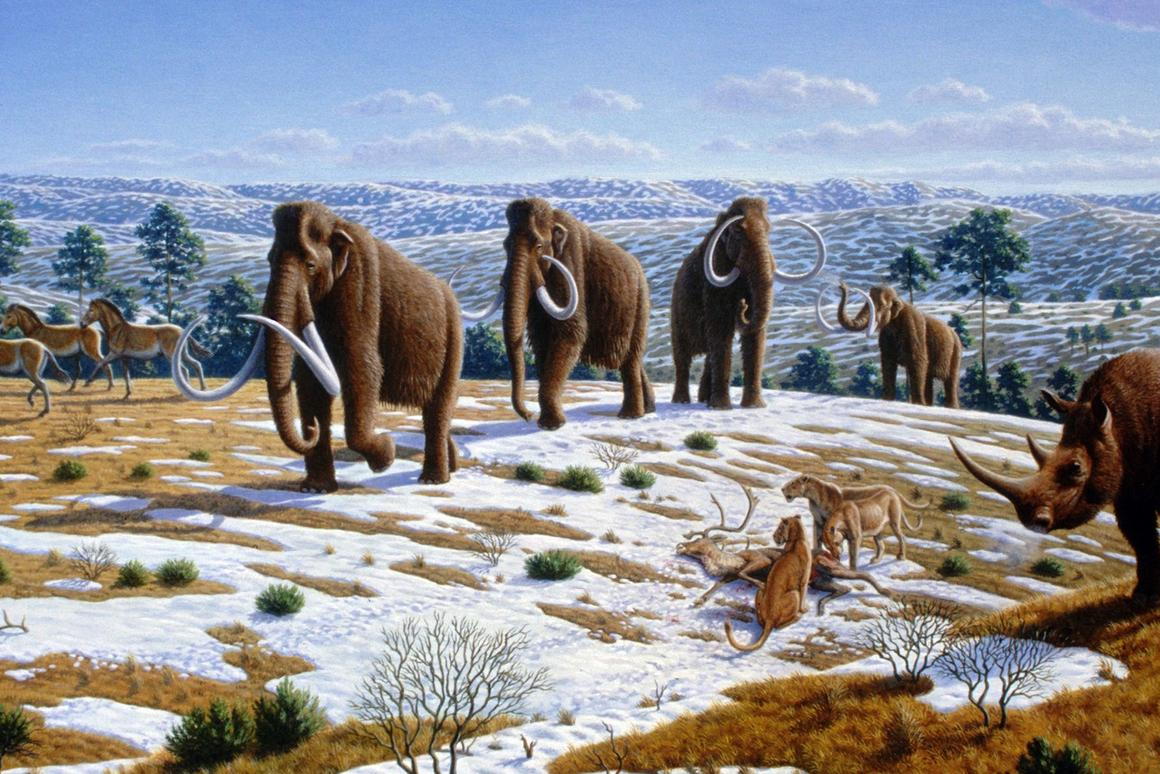 An artist's impression of an Ice Age ecosystem – similar to the one thatPleistocene Park is trying to recreate