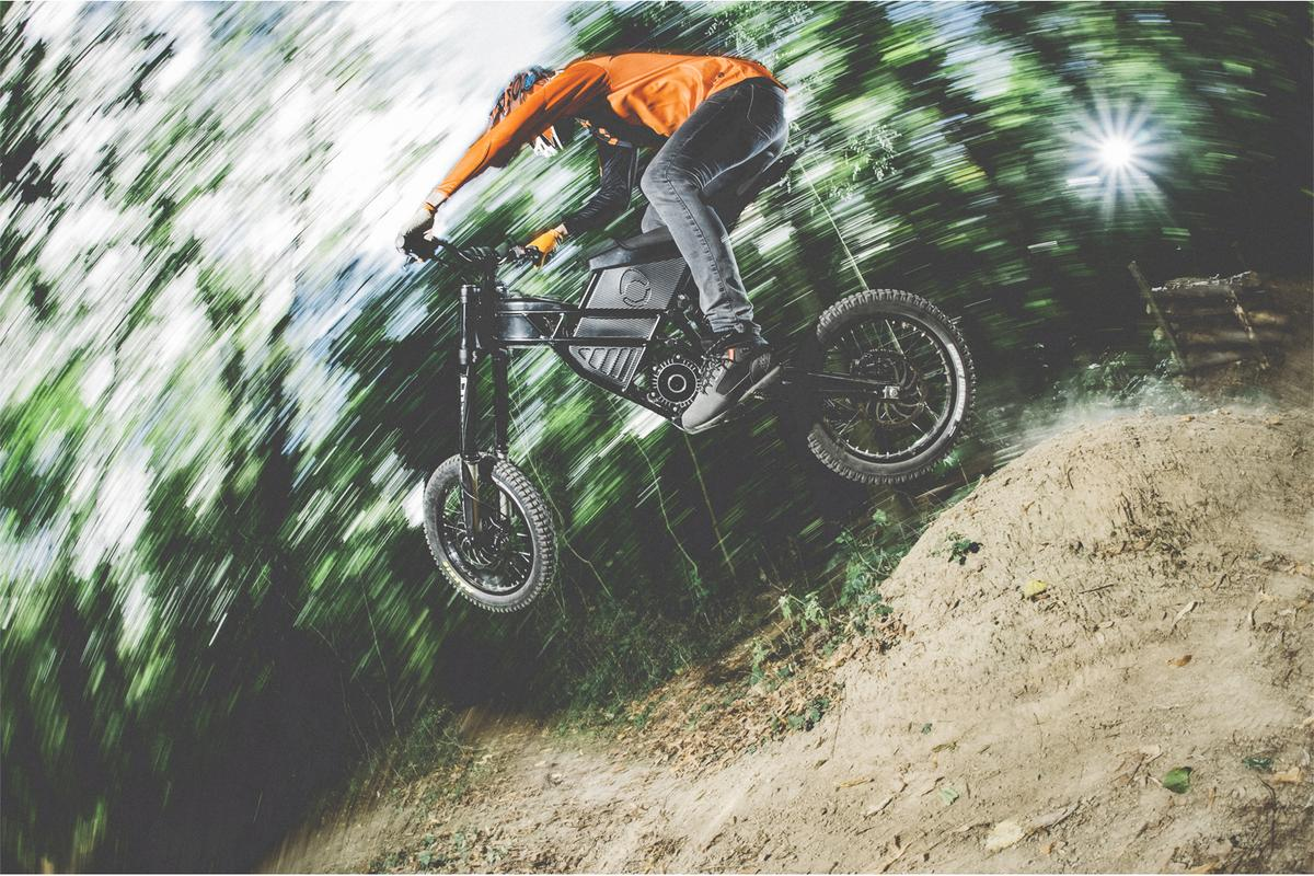 The Kuberg Freerider in all-electric action in the woods