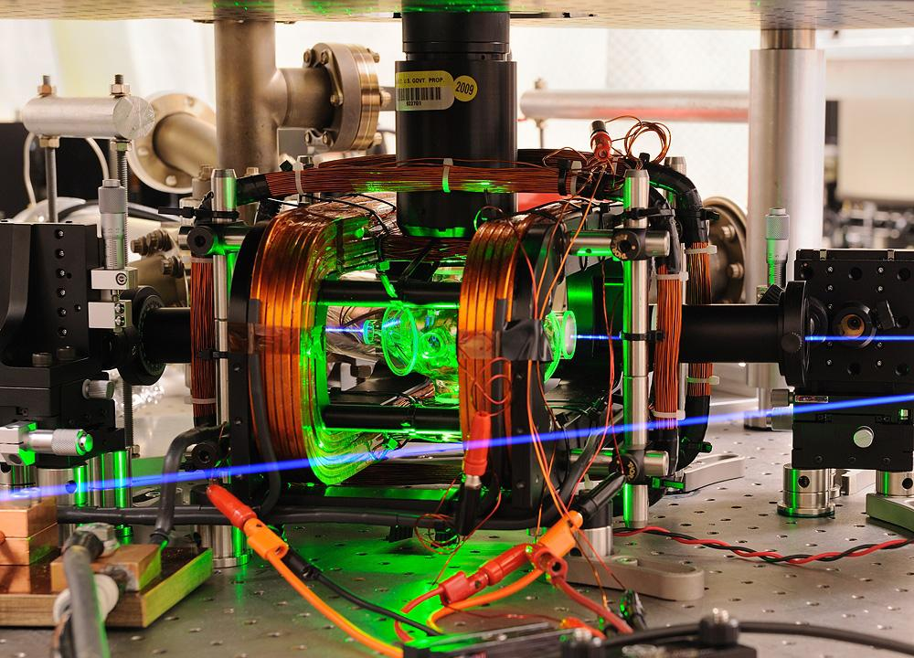 Two ions are being entangled using microwaves in this NIST apparatus (Photo: Y. Colombe/NIST)