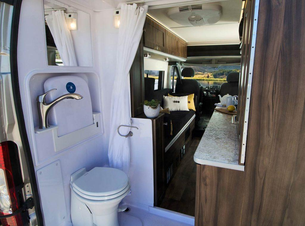 Carado's new Axion Studio includes a rear bathroom with sit-down/stand-up shower, toilet and sink