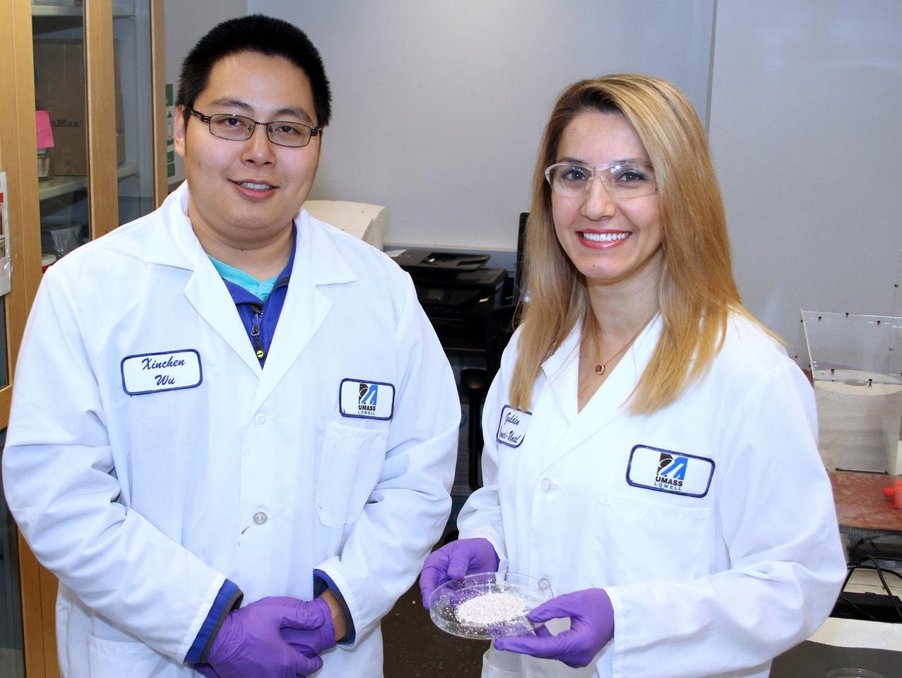 Asst. Prof. Gulden Camci-Unal (right) with Biomedical Engineering and Biotechnology Ph.D student Xinchen Wu