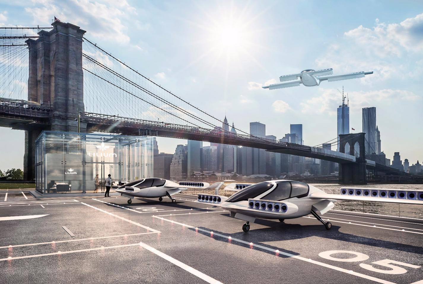 Lilium says its electric VTOL jet could take travelers from Manhattan to JFK Airport in five minutes, compared to 55 minutes by car
