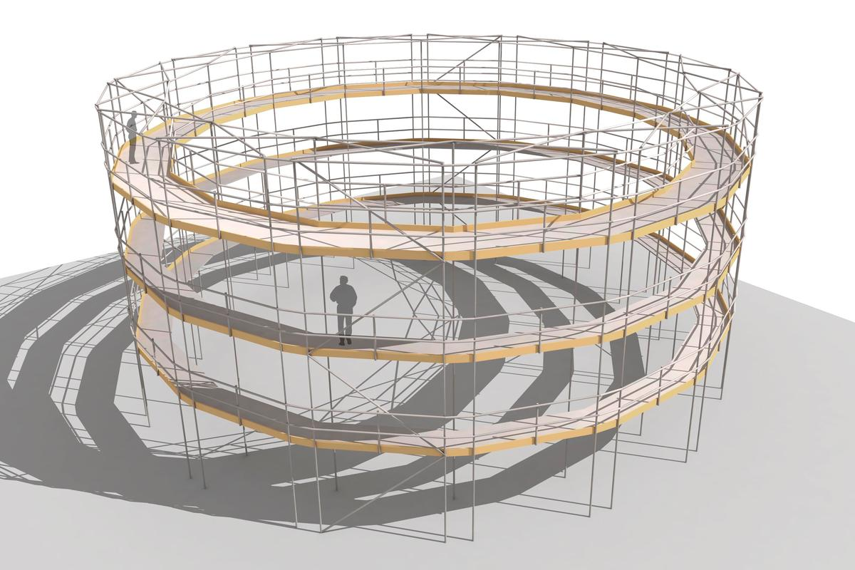 The Paper Bale Theater is a 135-seat circular theater concept that can be employed for temporary performances (Image: Studio Andrew Todd)