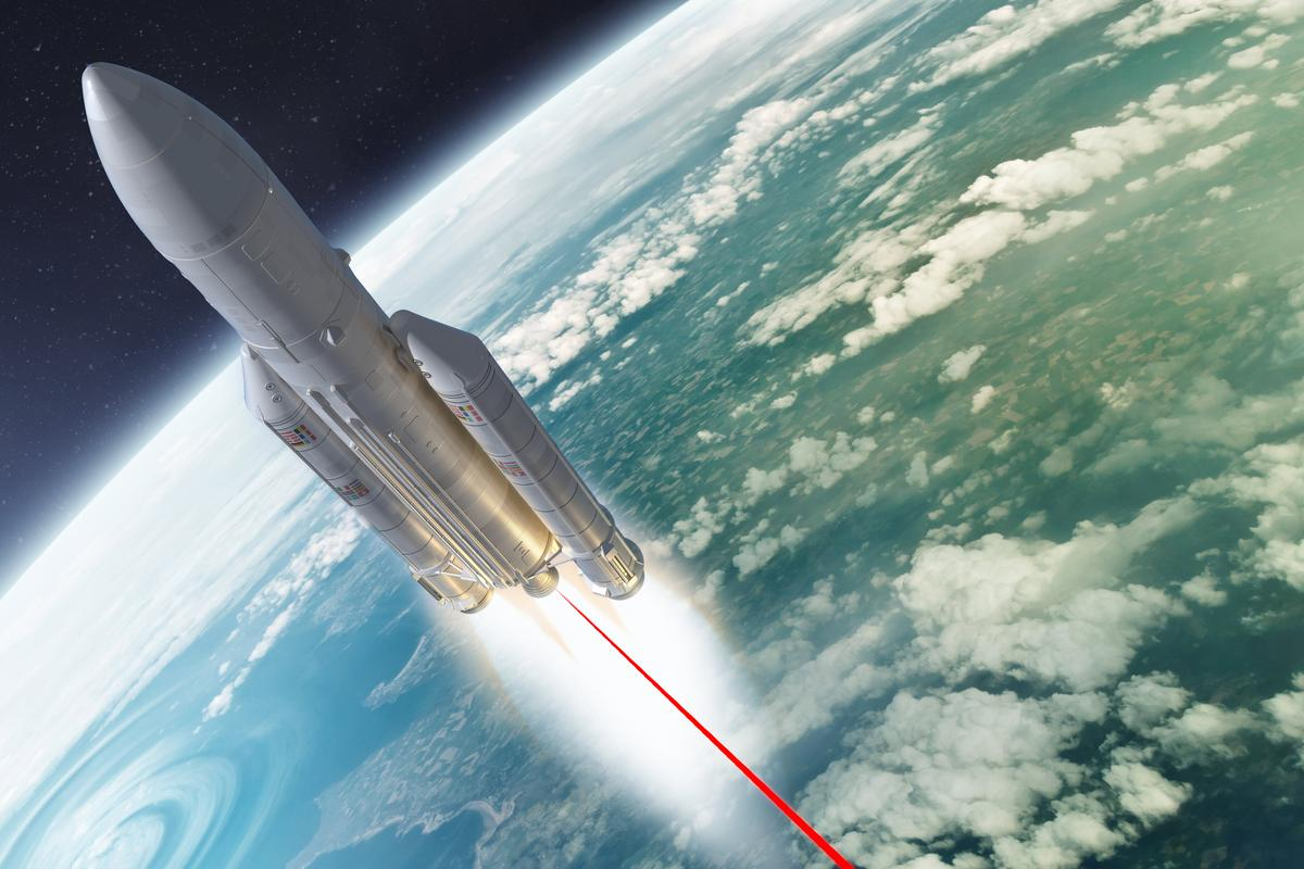 Firing lasers up the backsides of rockets could accelerate them faster without requiring extra fuel (Original images: solarseven and Nikonaft via Shutterstock)