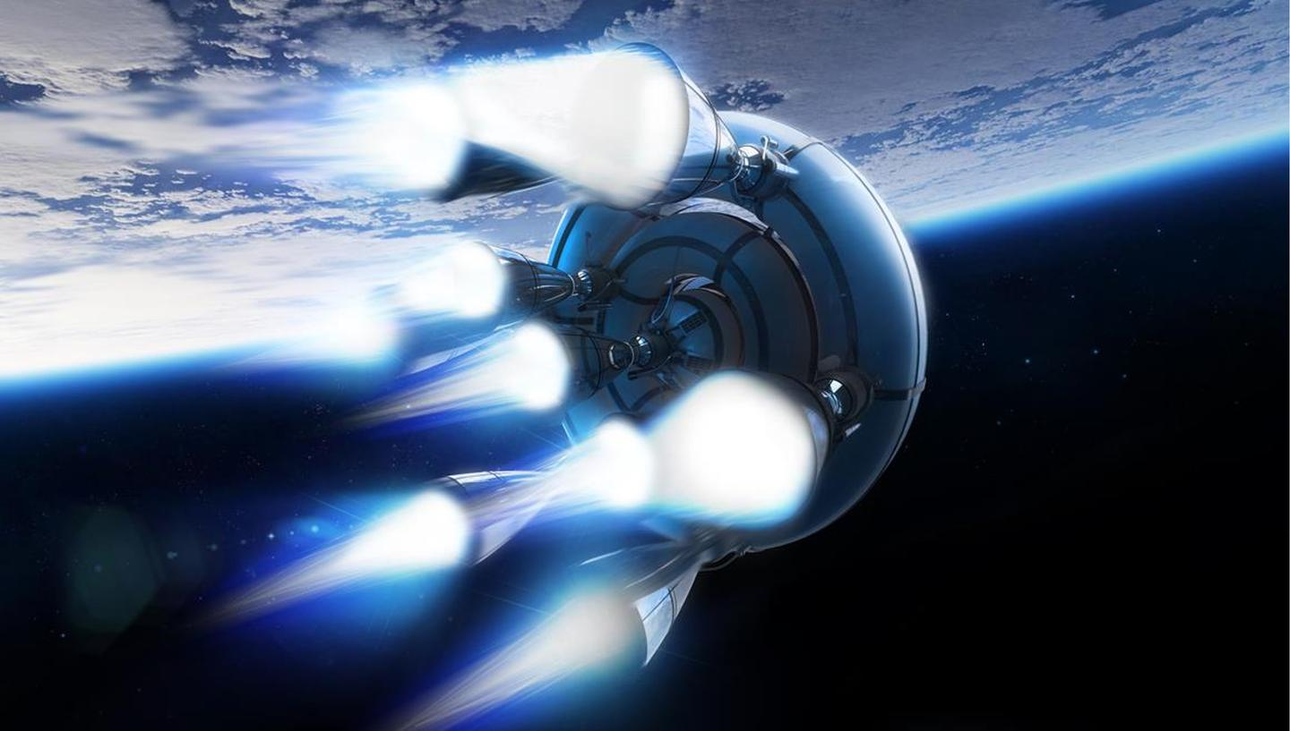 Artist's concept of the bloostar upper stages firiing