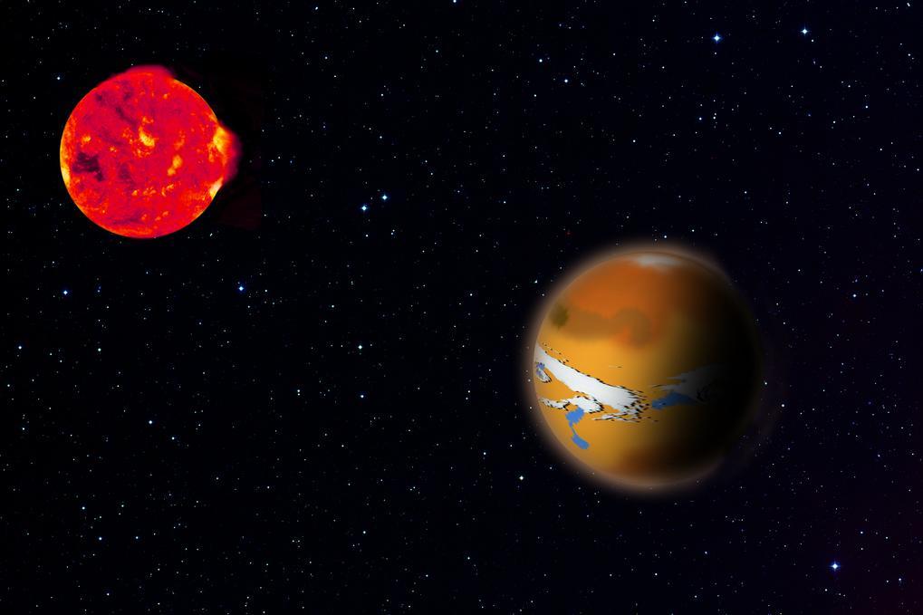 Artist's impression of TRAPPIST-1d in orbit around its red dwarf star TRAPPIST-1