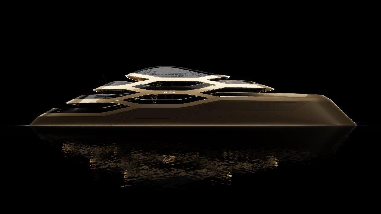 The flowing lines of the Benetti concept make it look more fluid than contemporary superyachts