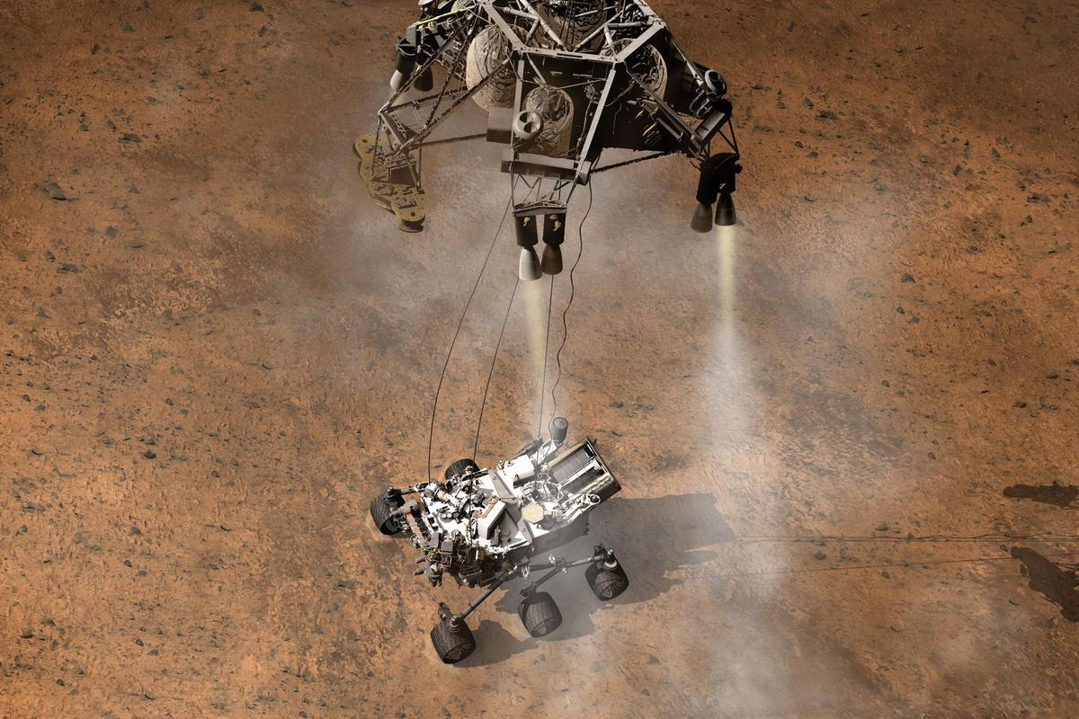 Artist's impression of the Curiosity landing (Image: NASA)