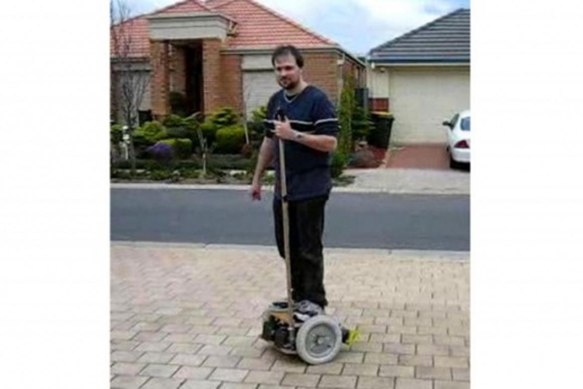 Geoffrey D. Bennett aboard his DIY robotic transport