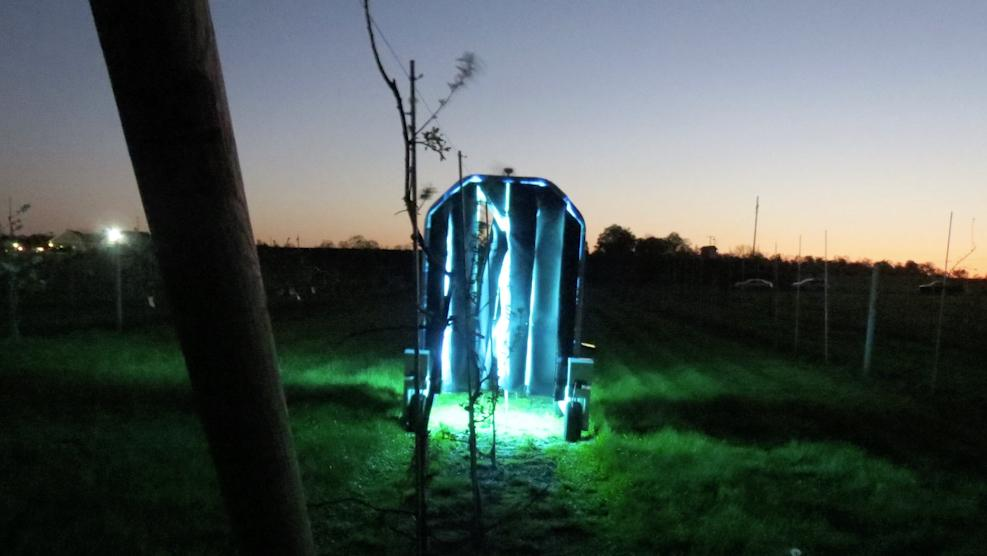 Each robot is equipped with an 8 by 4-foot (2.4 by 1.2-m) array of UV lamps