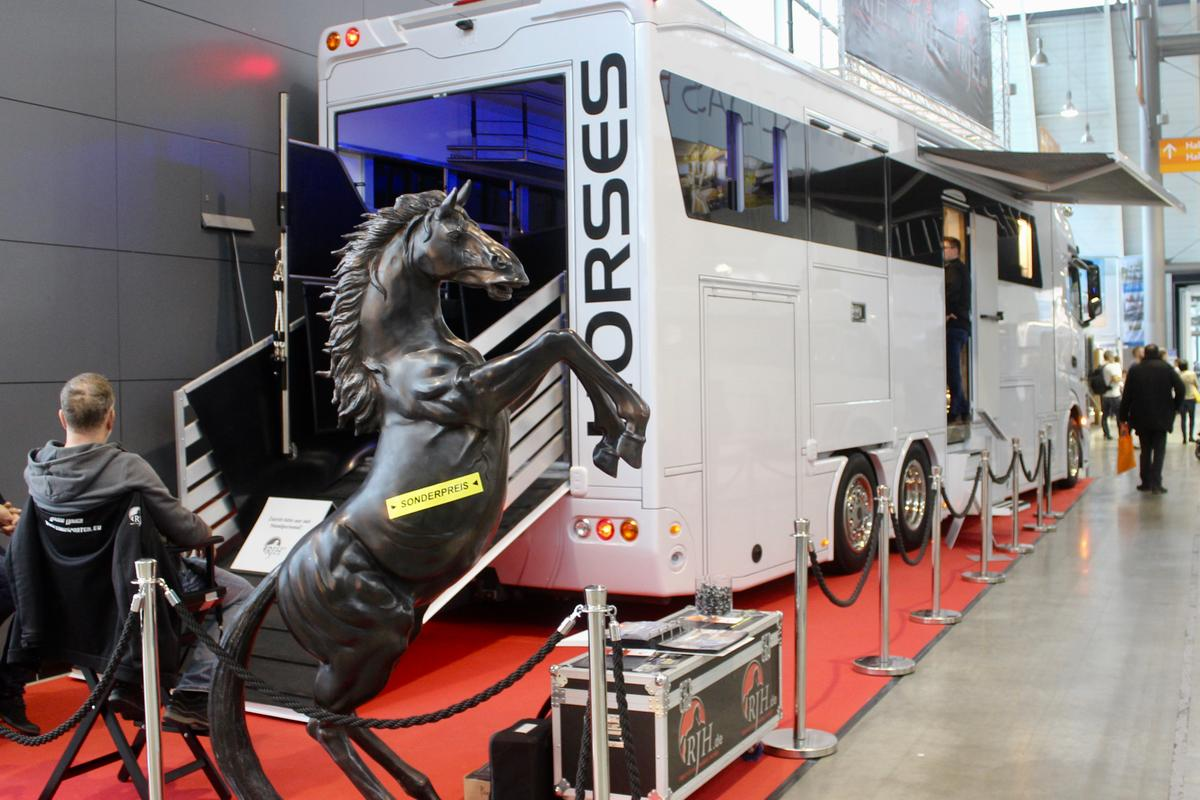 The RJH Exclusive was the only motorhome we saw at CMT designed to shelter both humans and horses