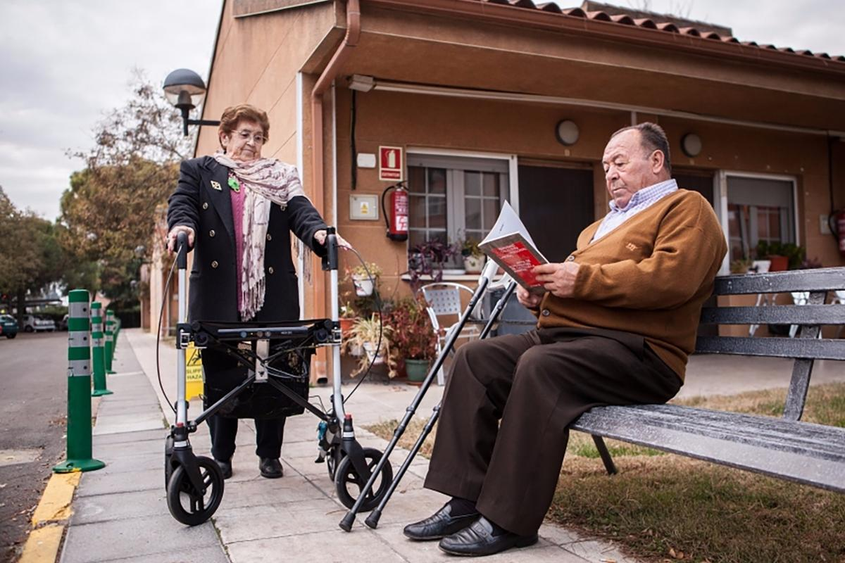 The FriWalk measures users' health, detects obstacles ahead, and connects elderly people together