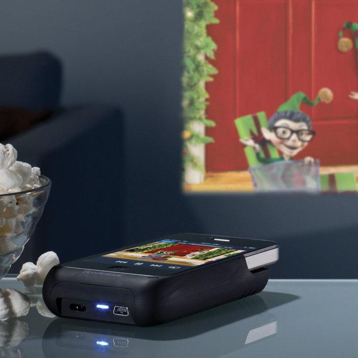 The Pocket Projector for iPhone 4 boasts a 15-lumen LED projector lamp and projects images of up to 50 inches at 640x360 native display resolution