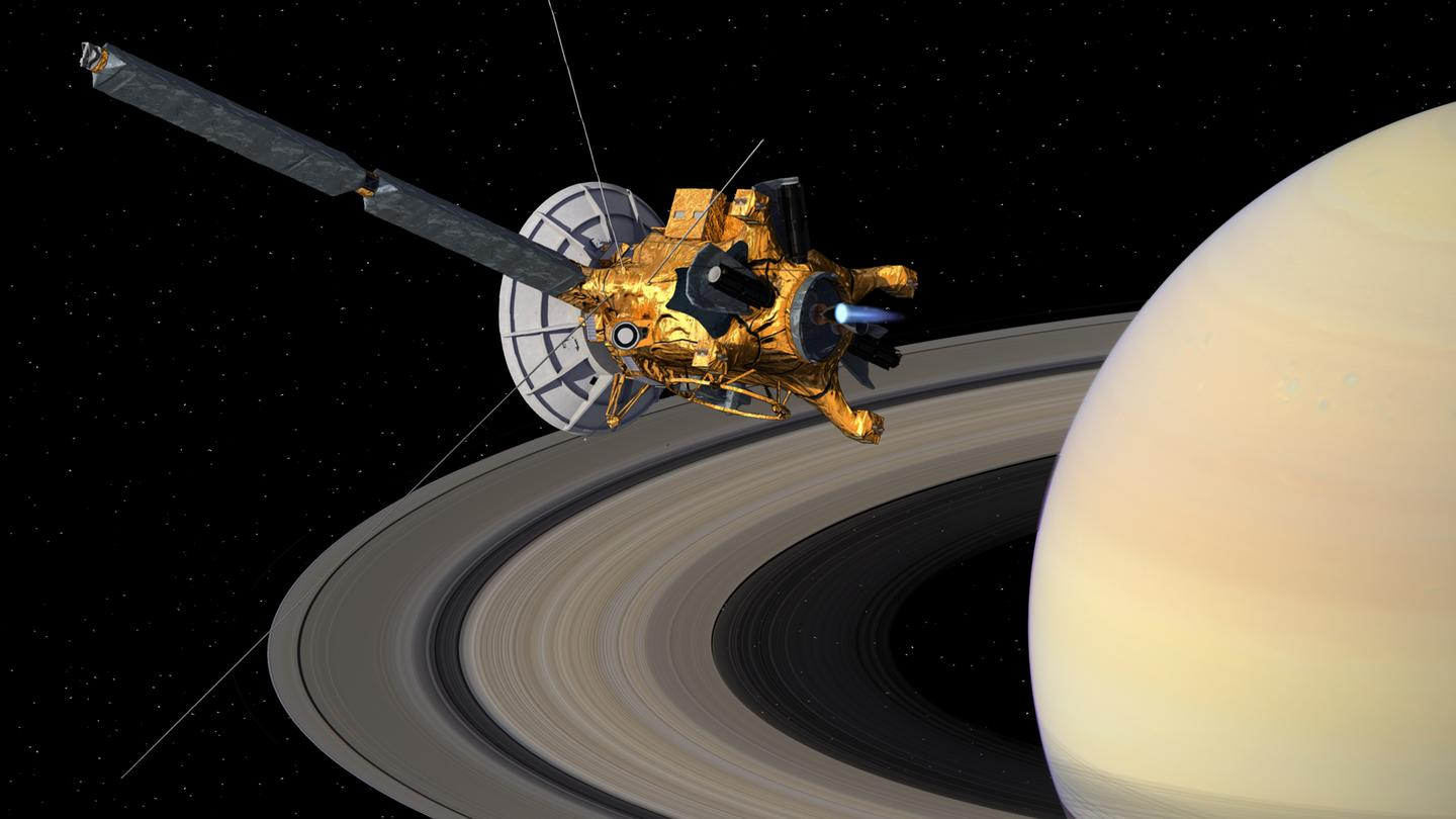 Artist's impression of Cassini in orbit around Saturn