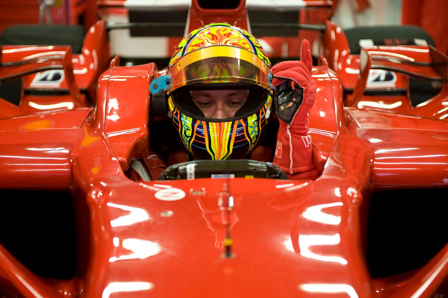 Valentino Rossi testing Ferrari F1 on January 21, 2010