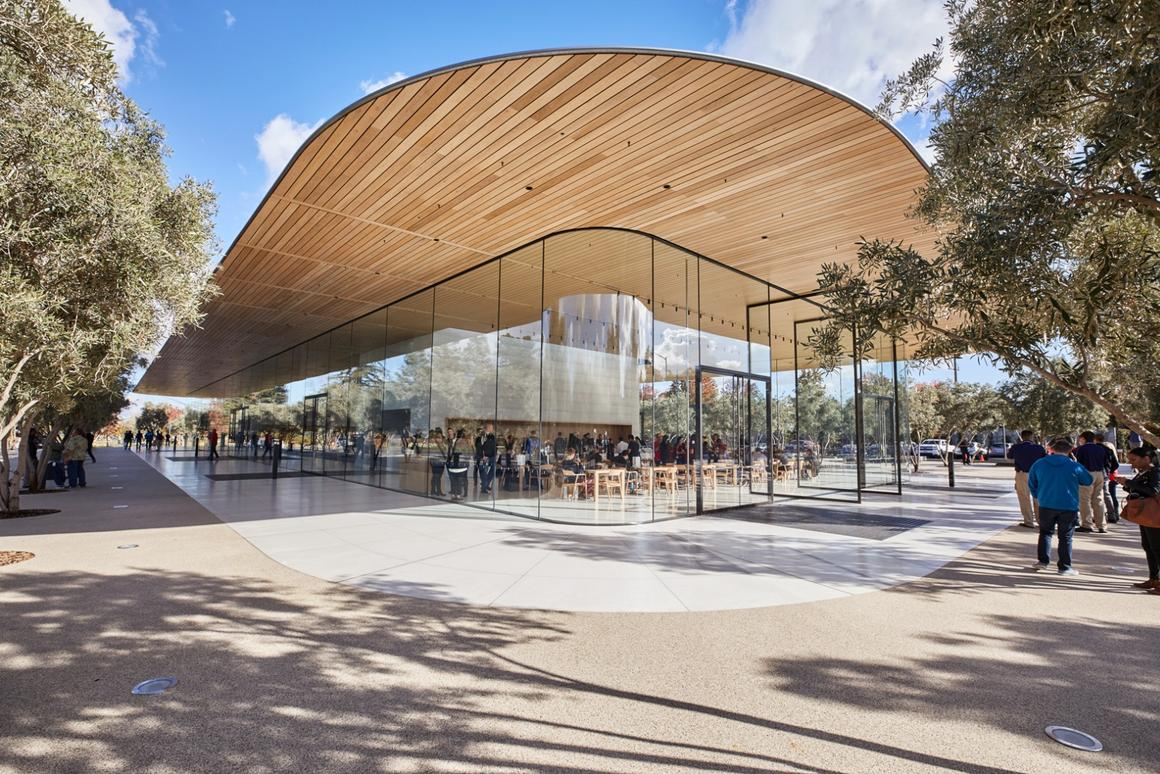 TheApple Park Visitor Center was designed by Foster +Partners
