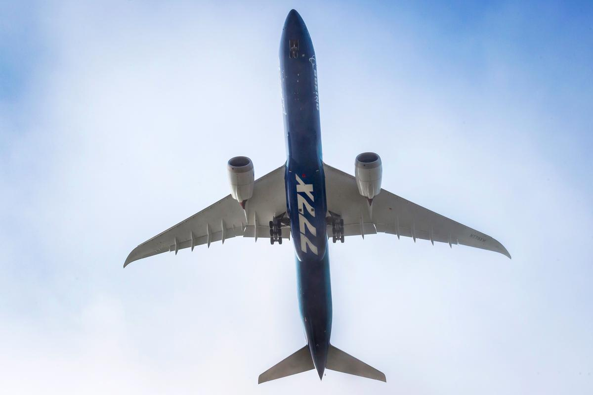 The Boeing 777X has an unusually long wingspan