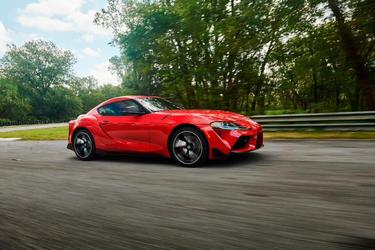 The 2020 Toyota Supra is a rear-wheel drive offering whose turbocharged engine produces 335 horsepower (250 kW) and four-second 0-60 mph (0-96 km/h) times