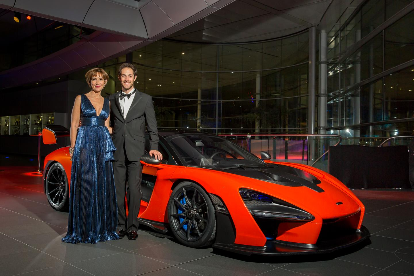 Three Sennas: Viviane, Bruno Senna and the new McLaren Senna. Viviane is the sister of Ayrton and the mother of racing driver and McLaren ambassador, Bruno Senna. The new McLaren Senna raised £2 million for underprivileged children and youngsters in Brazil via the Ayrton Senna Institute.