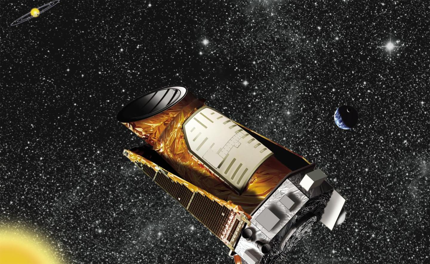 An artist's impression of the Kepler space telescope in orbit