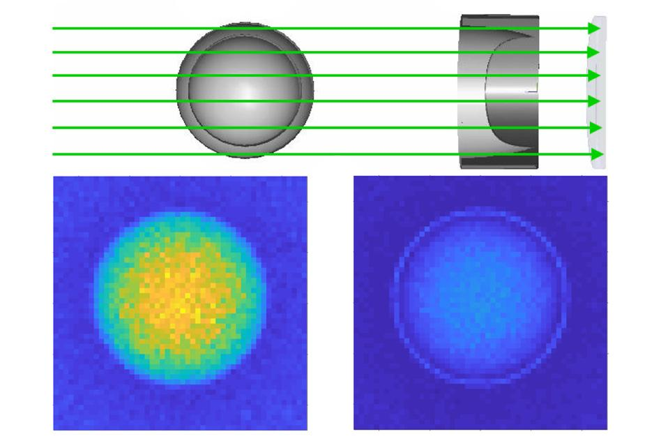 At top, a diagram shows the configuration that could be used to verify that a nuclear warhead is real. At left, the key component of a nuclear weapon, called the pit, which consists of a hollow sphere of plutonium, is lined up with a specially made second component, called the reciprocal, which has the opposite characteristics
