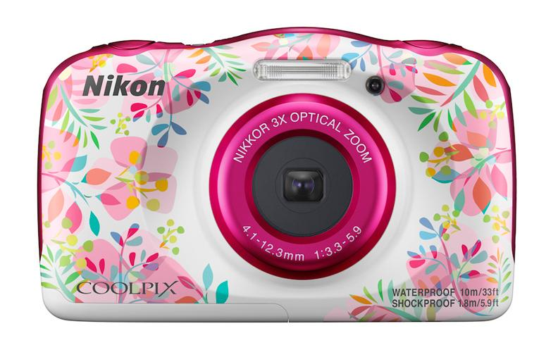 The Nikon Coolpix W150 travel compact is available in blue, white and orange, but also in Flower (pictured) and Resort designs