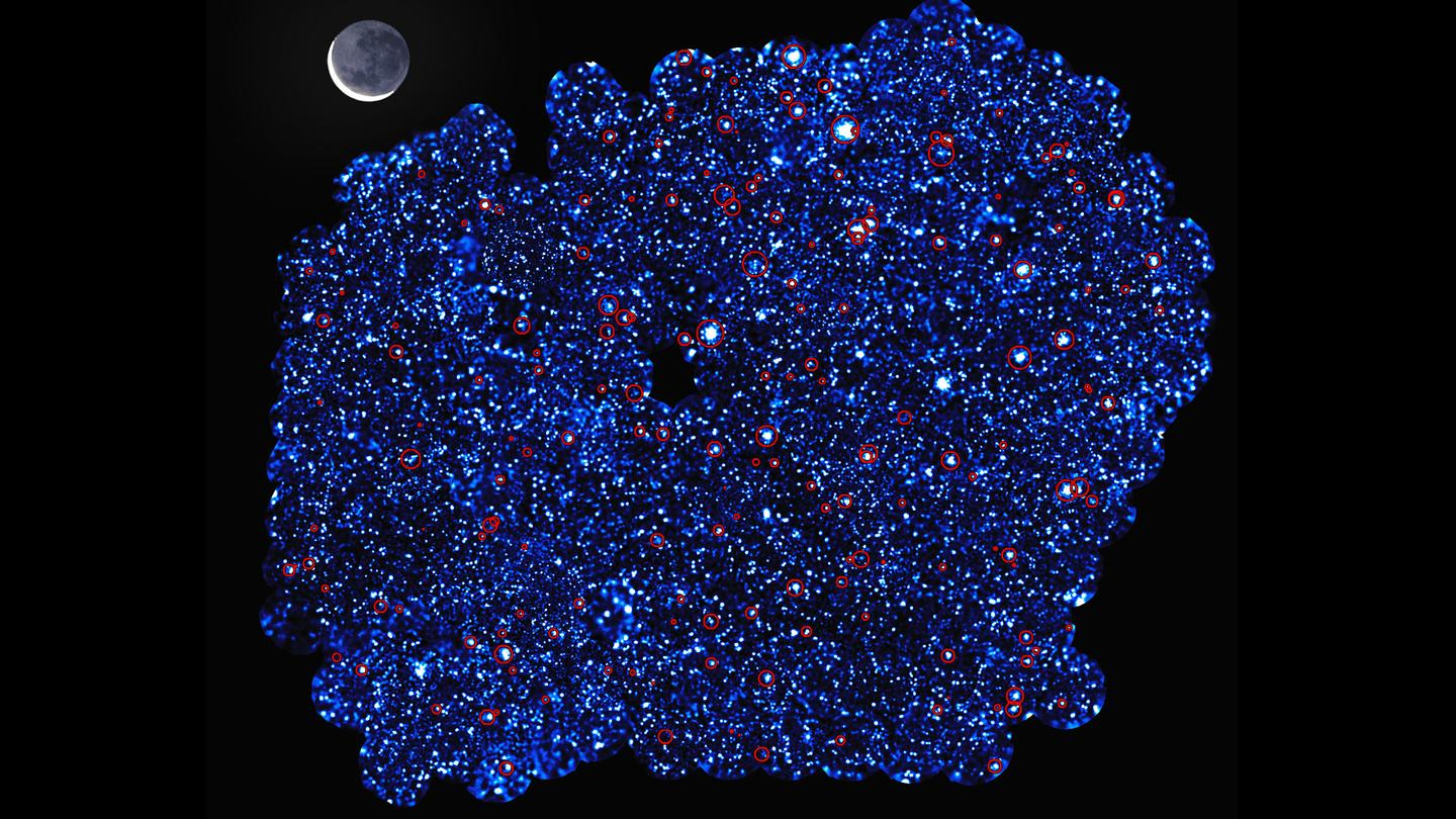 One of the two survey areas as observed by the XMM-Newton telescope – the newly-detected galaxy clusters are circled in red