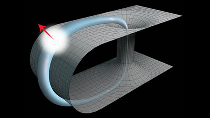 Researchers at the University of Queensland have simulated the behavior of a photon traveling back in time through a wormhole (Image: University of Queensland)