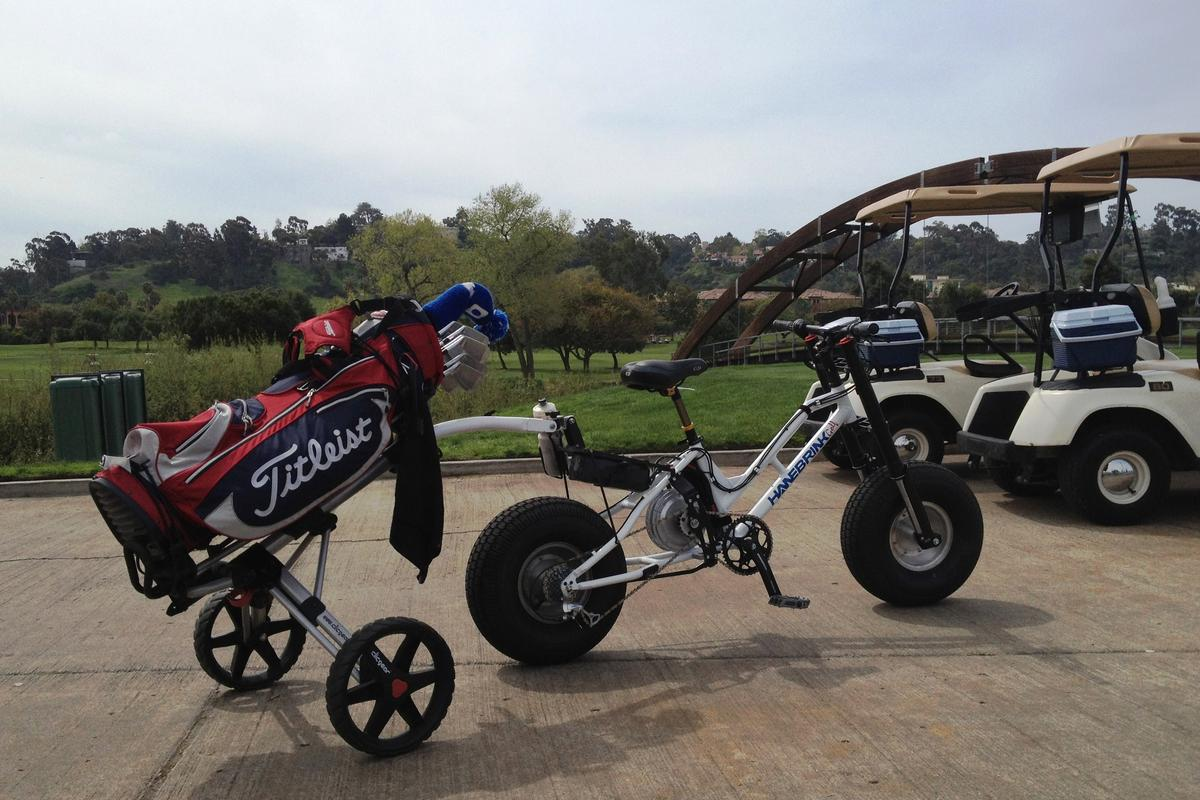 The new golf-centric Hanebrink pedelec bike was developed as a faster charging and cleaner alternative to existing four-wheeled golf carts that would have less impact on the turf